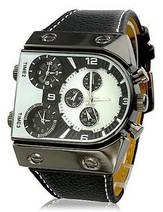 Herren-Armbanduhr military Drei Zeitzonen pu Band, Weiß - http://uhr.haus/oofay/herren-armbanduhr-military-drei-zeitzonen-pu