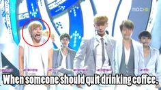 Oh leeteuk our hyper leader. Why is everyone in the picture clear but donghae is a blur?