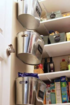 Hanging Metal Storage Bins (A Tutorial) - 60+ Innovative Kitchen Organization and Storage DIY Projects