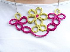 Pink And Yellow Crochet Necklace 1