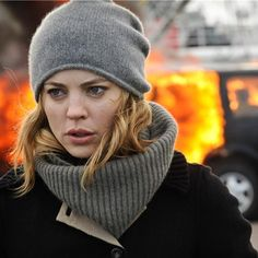 Melissa George | Hunted. Cos grey cashmere  beanie.