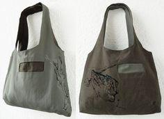 Reversible GrayTote Bag Hand Painted Dragonfly by koatye1 on Etsy, $50.00