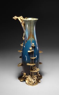 ** Eugène Feuillâtre, French , 1870 - 1916) - Alphonse Adolphe Lamarre (ceramist, French , 1837 - 1922) | Vase 1898