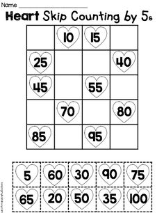 FREE printable math worksheet. Counting by fives cut/paste
