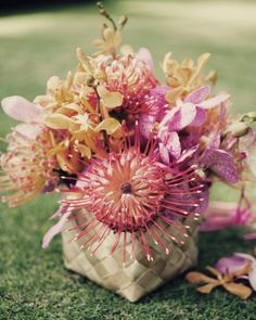 Pink and orange mokara orchids and pincushion protea nestled in woven lauhala baskets. via MSWeddings Tropical Wedding Centerpieces, Orchid Centerpieces, Beach Wedding Favors, Hawaii Wedding, Wedding Ideas, Centrepieces, Table Centerpieces, Wedding Bells, Wedding Decor