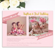 PRINTABLE Invitation for joint Christening Baptism and 1st