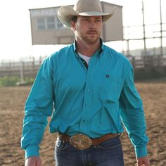 Cinch Turquoise Solid Weave Shirt MTW1103728