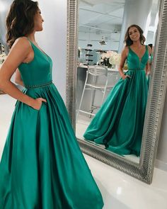 2017 Simple Deep V neck Long Evening Dress With Pockets Beaded Waist Prom Dress Satin A line Sleeveless Evening Party Gowns