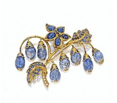Gold and Sapphire Brooch with sapphire briolettes, Boivin. #Boivin #VonGiesbrechtJewels