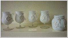 knutselen met action wibra - glas of potje bewerkt met gesso en daar een gehaakte sneeuwvlok of ster geplakt