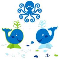 Ocean Preppy 1st Birthday Party Whale Centerpiece-3