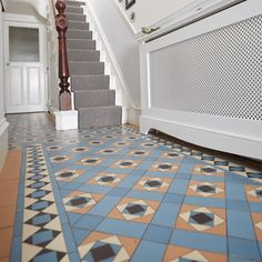 Conway with Browning border an original style victorian floor tile design delivered anywhere in UK or internationally from NextDay. Tiled Hallway, Hallway Flooring, Victorian Tiles, Victorian Bathroom, Modern Hall, Hallway Inspiration, Tiles Price, Outdoor Tiles, Hallway Decorating