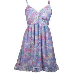 Little Twin Stars Dreamy Unicorn Babydoll Dress ($48) ❤ liked on Polyvore featuring dresses, short dresses, vestidos, short babydoll dresses, babydoll dress, doll dress, short baby doll dress and star print dress