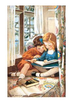 Jessie Willcox Smith American illustrator / children reading in a window seat, illustration - at the British Library Childrens Book Shelves, Childrens Wall Art, Childrens Books, Reading Art, Kids Reading, Reading Buddies, Reading Books, Lovers Art, Book Lovers