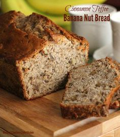 Run don& walk to the kitchen to make this amazing Cinnamon Toffee Banana Nut Bread. Over ripe bananas transform into a scrumptious quick bread treat. Cinnamon Banana Bread, Cinnamon Rolls, Yogurt Bread, Delicious Desserts, Dessert Recipes, Brunch Recipes, Fall Recipes, Yummy Food, Toffee Nut