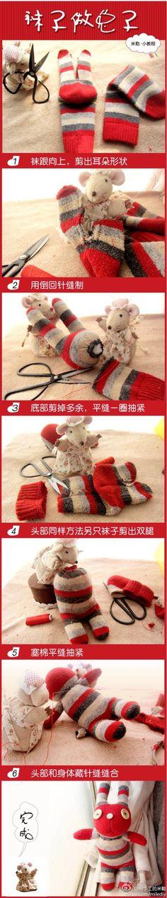 发袜子兔子娃娃的教程