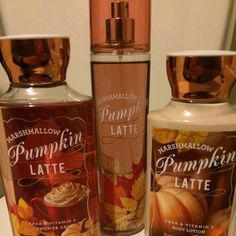Pumpkin Latte Body Set Set from Bath and Body Works. All Marshmellow Pumpkin Latte scent. Fine fragrance most which retails for $14, shiwe gel which retails for $12.50, and body lotion retails for $12.50. I'm allergic to scents, so these have never been used. Feel free to ask me anything! Bath & Body Works Other