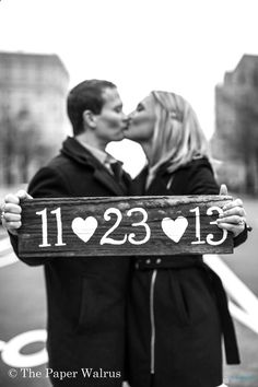 Photo Prop Signs for Engagement Photos or Wooden Wedding Signs Wedding Date. $24.99, via Etsy.