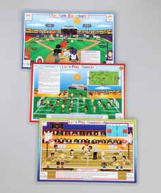 This Baseball, Basketball, & Soccer Activity Place Mat Set by Tot Talk is perfect! #zulilyfinds