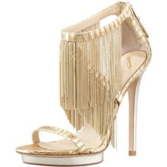 B Brian Atwood Metal Fringe Back-Zip Sandal, Gold (€400) ❤ liked on Polyvore featuring shoes, sandals, heels, sapatos, gold high heel sandals, platform sandals, high heel platform sandals, ankle strap high heel sandals and fringe high heel sandals