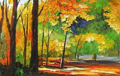 ORIGINAL Painting oil on canvas impasto Autumn por ArtPaintingsMP