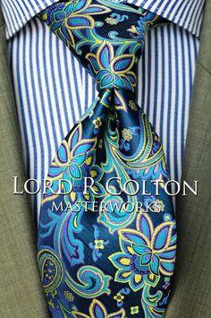 Lord R Colton Masterworks Pocket Square Miami Brown Blue Silk $75 Retail New