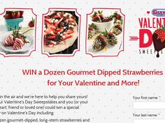 Enter the California Giant Berry Farms Valentine's Day Sweepstakes for a chance to win 1 of 10 Dozen Dipped Strawberries!