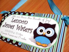 personalized our little boy birth announcement door by kasefazem, $15.99