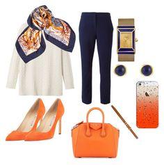 """orange"" by rabiahk on Polyvore featuring Toast, Hermès, Diane Von Furstenberg, Manolo Blahnik, Givenchy, Tory Burch, Karen Kane, Casetify and Dorothy Perkins"