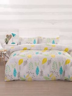 A fresh colour palette consisting of mustard yellow, teal blue and green is combined with neutral tones of grey, white, black and taupe in this homage to autumn. Neutral Tones, Color Pallets, Teal Blue, Duvet Cover Sets, Comforters, Palette, Blanket, Bedroom, House