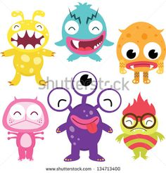 Silly Cute Monsters Set Stock Vector Illustration 134713400 ...