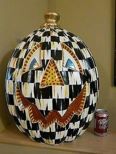 "HP GIANT HUGE 24"" tall whimsical check jack-o-lantern pumpkin supercrazychick"