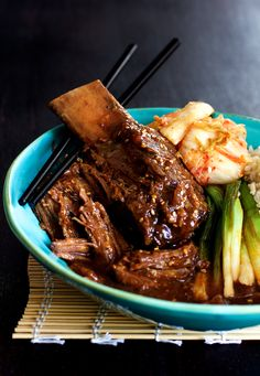 Korean Braised Beef Short Ribs by fromachefskitche (korean food plating) Rib Recipes, Paleo Recipes, Asian Recipes, Entree Recipes, Grilling Recipes, Gourmet Recipes, Yummy Recipes, Dinner Recipes, Yummy Food