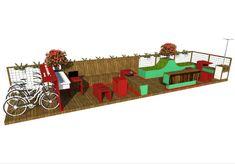 O espaço contará com bancos, espreguiçadeiras, estacionamento de bikes, empréstimo de livros e wi-fi gratuito.