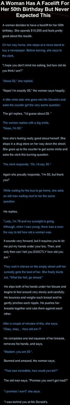 A Woman Has A Facelift For Her 50th Birthday But Never Expected This funny jokes story lol funny quote funny quotes funny sayings joke humor stories funny jokes