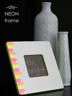 DIY neon $1 frame using office supplies
