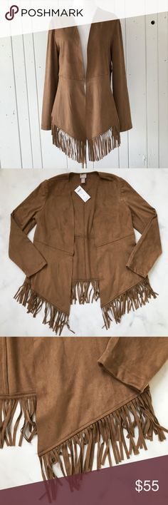 CHICO'S Faux Suede Fringe Detail Jacket Gorgeous fringe-detailed jacket from the CHICO'S Outlet. Faux suede. Raw edges. Chico's size 0 which translates to a standard size 4 or small. NWT! Chico's Jackets & Coats