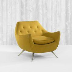 Henry Glass; Brass-Legged Lounge Chair , c1955.