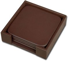 Leather 4 Square Coaster Set with Holder A3481 by Decasso