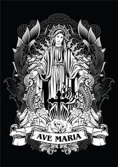 Ave Maria by deGimbalz Catholic Art, Religious Art, Maria Tattoo, Arte Lowrider, Aztecas Art, Woodcut Art, Shetland, Christian Artwork, Christian Religions