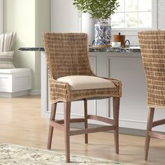 Beachcrest Home Sunstone Bar & Counter Stool Seagrass Bar Stools, Wicker Counter Stools, Woven Bar Stools, Counter Stools With Backs, Patio Bar Stools, Counter Height Bar Stools, Kitchen Counter Stools, Bar Counter, Kitchen Chairs