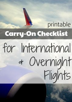 The Best Carry-On Packing Checklist for International Travel * Printable FREEBIE. - The Best Carry-On Packing Checklist for International Travel * Printable FREEBIE – Awesome tips for sleeping on long flights and feeling great when you arrive! Carry On Packing, Packing Tips For Travel, New Travel, Travel Advice, Travel Essentials, Travel Hacks, Travel Ideas, Traveling Tips, Travelling