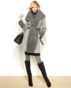 Calvin Klein Shawl-Collar Colorblocked Coat, Calvin Klein's colorblocked coat is a chic way to stay cozy during blustery months.