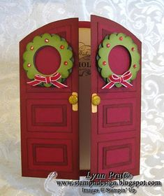 Stamp-n-Design: Double Door Decorated for Christmas — This card idea could be… – Christmas DIY Holiday Cards Handmade Christmas, Christmas Crafts, Christmas Decorations, Christmas Christmas, Christmas Ideas, Christmas Wreaths, Cute Cards, Diy Cards, Xmas Cards