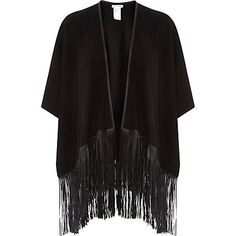 Black faux suede leather-look tassel cape £40.00
