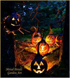 Metal Jack-O-Lanterns - Garden Art