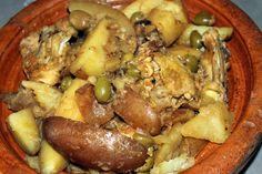 Tajine de poulet, pommes de terre et olives vertes