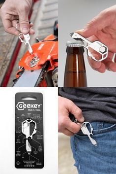 Geekey is an award-winning 16-in-1 gadget that combines all your essential tools into one simple device you can carry anywhere. Created for outdoor adventurers, hobbyists, handymen, and anyone looking to be prepared at a moment's notice. #multitool #edc #keychain Edc Keychain, Apocalypse Survival, Used Tools, Tool Box, Gadget, Cool Things To Buy, In This Moment, Simple, Outdoor