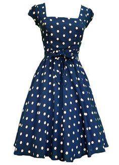 1950s Retro Polka Navy Blue Dress