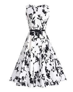 8895373533 Dreamjieshi Cute Women Summer Vintage Hepburn festival Clothing big swing  robe Party Dress 60s Retro Print